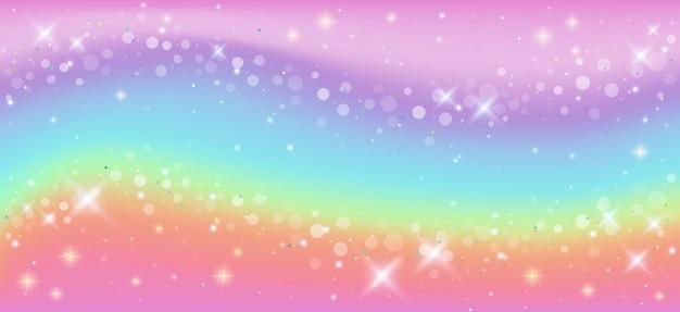 Sfondo fantasia arcobaleno modello olografico di unicorno in colori pastello cielo con stelle e bokeh