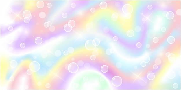 Sfondo unicorno fantasia arcobaleno motivo olografico in colori pastello stelle e bolle di sapone