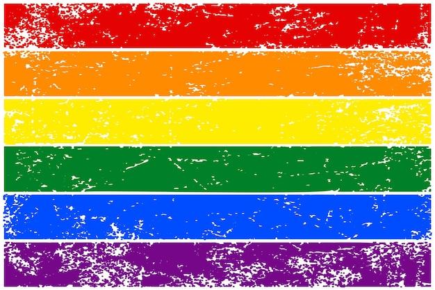 Bandiera arcobaleno lgbt. bandiera colorata disegnata a mano con struttura del grunge. illustrazione vettoriale.