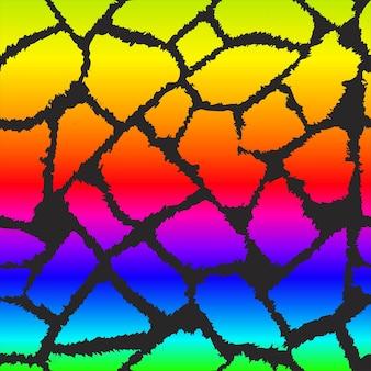 Reticolo di vettore della pelle di giraffa arcobaleno. sfondo senza soluzione di continuità motivo giraffa