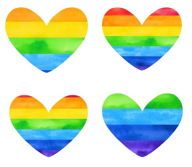Bandiera dell'acquerello disegnata a mano arcobaleno a forma di cuore.