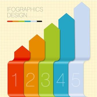 Modello di etichette arcobaleno per infografica.