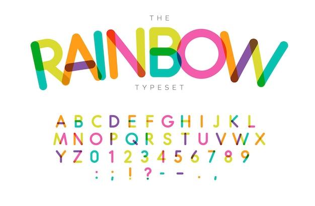 Set di lettere e numeri arcobaleno. alfabeto latino di vettore di stile di festival. font per eventi, compleanni, promozioni per bambini, loghi di festival, banner, monogrammi e poster. design tipografico
