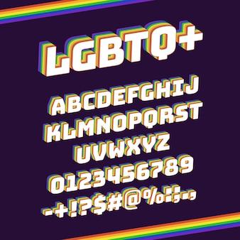 Carattere lgbtq arcobaleno. pride 3d lettere e numeri, set di simboli di tipo lettering artistico vivido arcobaleno. carattere tipografico a strisce arcobaleno. supporto per l'uguaglianza, segni di punteggiatura colorati