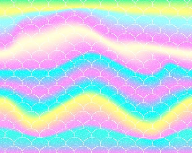 Sfondo sirena arcobaleno. modello olografico. spina di pesce.