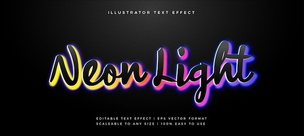 Effetto carattere stile testo luce al neon arcobaleno