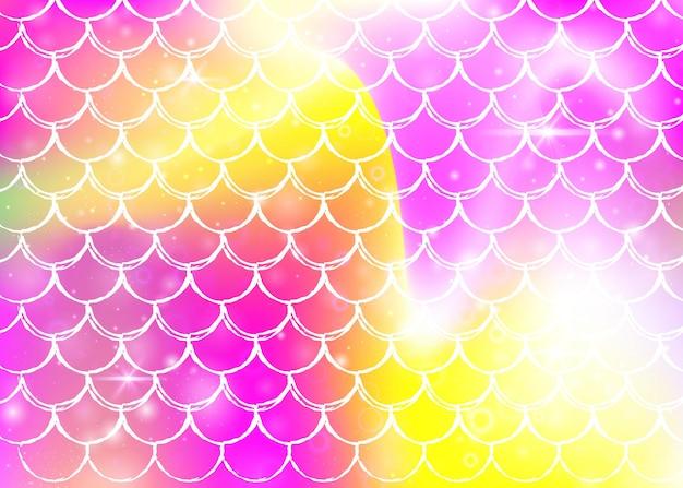 Sfondo di squame arcobaleno con motivo principessa sirena kawaii. banner a coda di pesce con scintillii e stelle magici. invito fantasia mare per party girlie. fondale fluorescente con squame arcobaleno.
