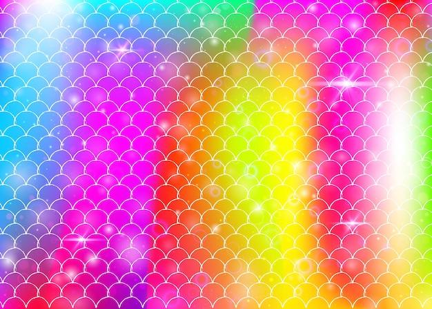 Sfondo di squame arcobaleno con motivo principessa sirena kawaii. banner a coda di pesce con scintillii e stelle magici. invito fantasia mare per party girlie. sfondo arcobaleno con squame arcobaleno.