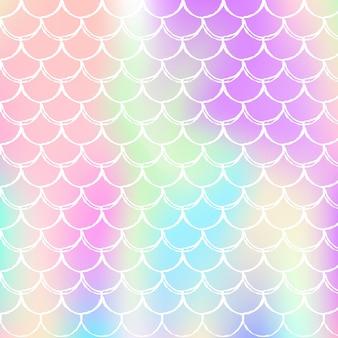 Sfondo di squame arcobaleno con motivo principessa sirena kawaii.