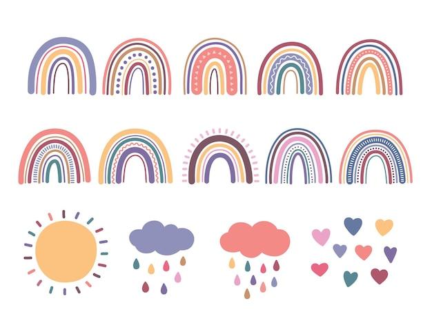 Arcobaleno, set di illustrazioni vettoriali carine boho