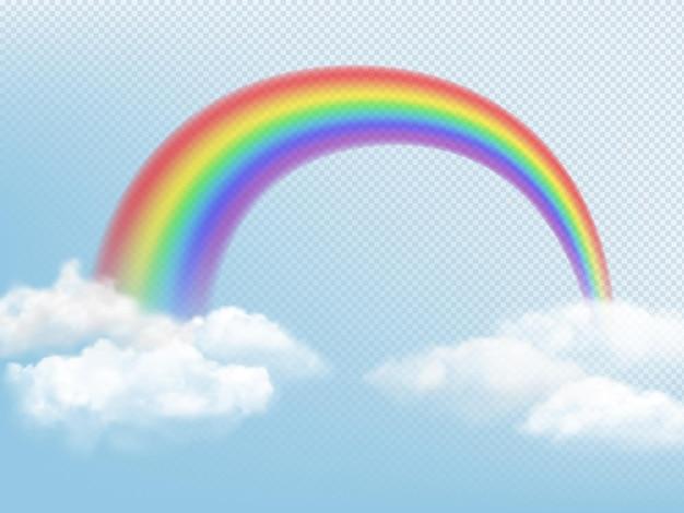 Arcobaleno nel cielo. fondo del tempo con le nuvole e l'arco colorato dell'immagine realistica di vettore dell'arcobaleno. illustrazione della decorazione della curva della luce della natura dell'arcobaleno