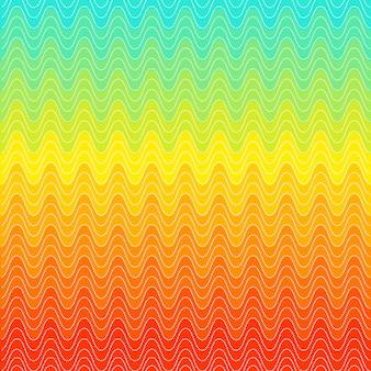 Motivo a punti di turbinii arcobaleno. sfondo dell'onda. design luminoso alla moda. colore rosso, giallo e blu. illustrazione vettoriale.