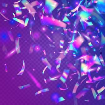 Trama arcobaleno. serpentina astratta brillante. scintille di metallo blu. pellicola digitale. effetto neon. arte glamour. coriandoli olografici. bagliore retrò. trama arcobaleno rosa