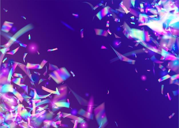 Trama arcobaleno. decorazione multicolore lucida. arte volante. volantino in metallo. sfondo trasparente. foglio luminoso. cristalli glitter. tinsel di sfocatura rosa. trama arcobaleno blu