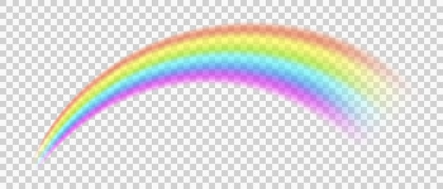 Arcobaleno su sfondo trasparente simbolo di fantasia di buona fortuna dopo la pioggia illustrazione vettoriale eps10