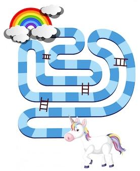 Modello del gioco da tavolo dell'unicorno dell'arcobaleno per i bambini in età prescolare isolati