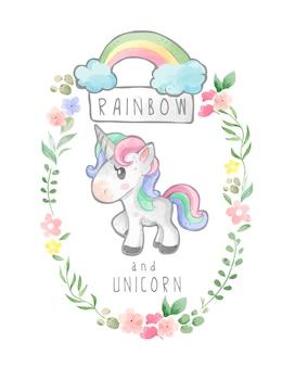 Arcobaleno e unicorno nell'illustrazione floreale della struttura della corona