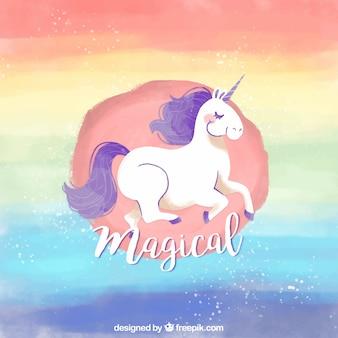 Sfondo acquerello arcobaleno con unicorno