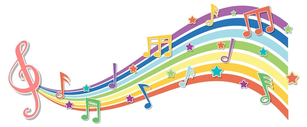 Onda arcobaleno con simboli di melodia
