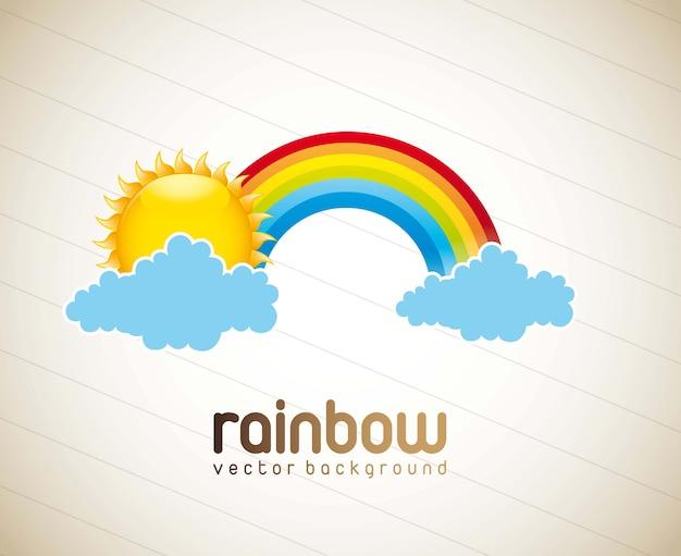 Arcobaleno con la nuvola e sole sopra il vettore d'annata del fondo