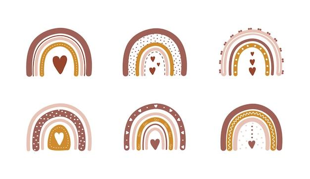 Arcobaleni in stile boho con cuori. illustrazioni bohemien per le vacanze.