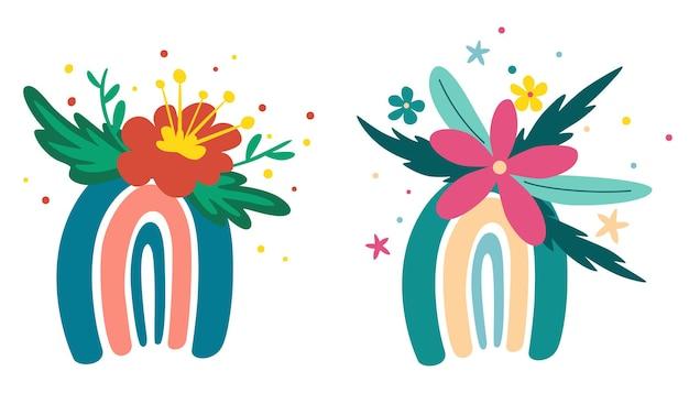 Arcobaleni con set di fiori. fiori primaverili, rami fioriti, uccelli e farfalle. ottimo per poster, biglietti, inviti, volantini, striscioni, cartelloni, brochure. illustrazione vettoriale in stile cartone animato.