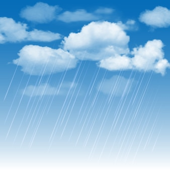 Pioggia e pioggia nel cielo blu