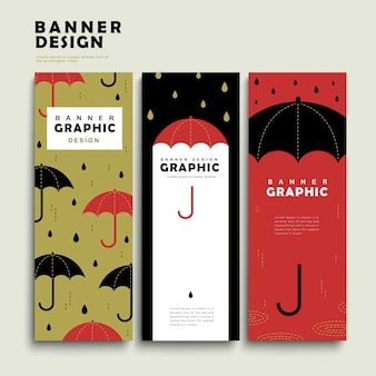 Set di modelli di banner per giorni di pioggia con un adorabile ombrello