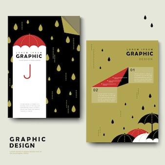 Modello di brochure per la giornata di pioggia con un bel ombrello