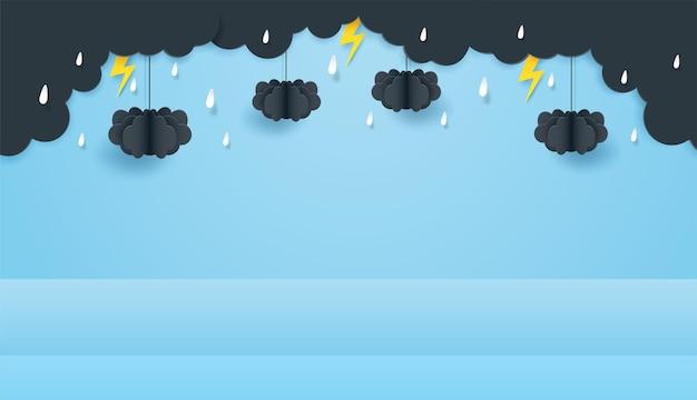 Podio dell'esposizione del prodotto a tema della stagione delle piogge. progettare con nuvole e gocce di pioggia su sfondo azzurro del cielo. stile artistico di carta. vettore.