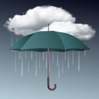 Icona del tempo piovoso con nuvole e ombrello