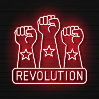 Icona della luce al neon del pugno alzato. protesta, supporto gesto della mano. pugno rivolto verso l'alto. segno incandescente con simboli.