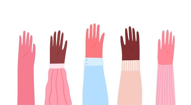Mani alzate di diversa razza ed etnia illustrazione piatta