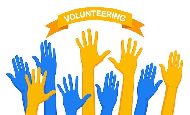 Illustrazione di volontariato delle mani alzate