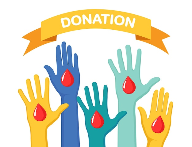Mani alzate con cuore isolato su sfondo bianco. volontariato, beneficenza, donare il concetto di sangue. grazie per la cura. voto di folla. design piatto vettoriale