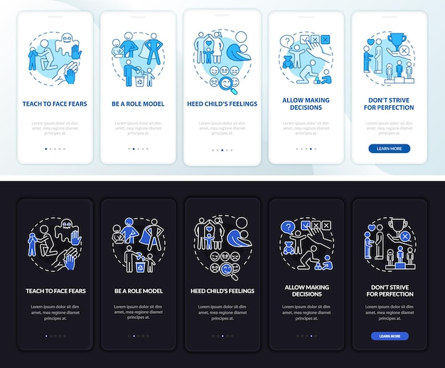 Suggerimenti per l'educazione dei bambini nella schermata della pagina dell'app per dispositivi mobili. procedura dettagliata per la salute mentale del bambino 5 passaggi istruzioni grafiche con concetti. modello vettoriale ui, ux, gui con illustrazioni lineari in modalità giorno e notte