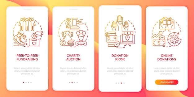 Idee per eventi di raccolta fondi nella schermata della pagina dell'app mobile