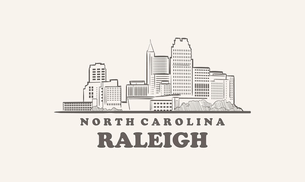 Skyline di raleigh, città americana di schizzo disegnato della carolina del nord