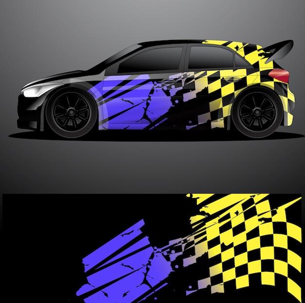Involucro grafico decalcomania auto da rally Vettore Premium