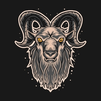 Progettazione dell'illustrazione della capra di ram su fondo scuro
