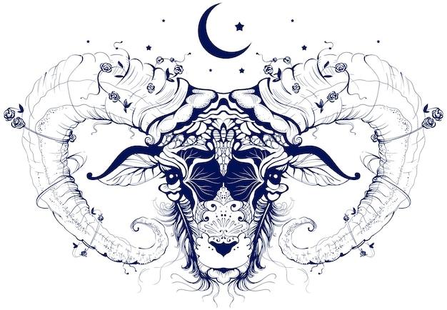 Simbolo del sacrificio della falce di luna del disegno astratto della testa di ariete. illustrazione vettoriale isolato su bianco