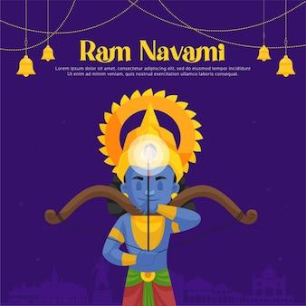 Saluti di ram navami con illustrazione di lord rama