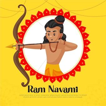 Saluti di ram navami con illustrazione di lord rama Vettore Premium