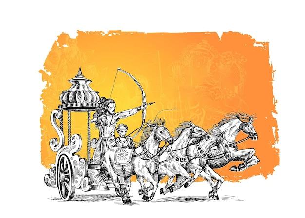Rama con rath uccide ravana sullo sfondo di happy dussehra