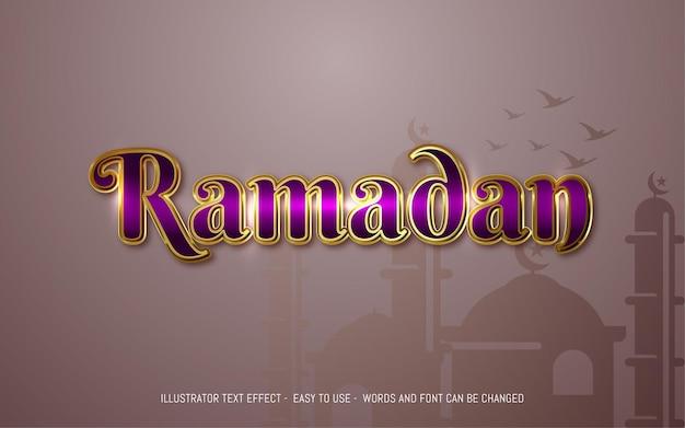 Modello di effetto di stile modificabile del testo di ramadan 3d
