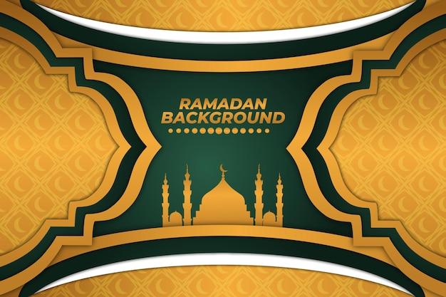 Moschea piatta gradiente verde oro sfondo ramadan
