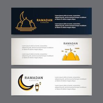 Modello di progettazione banner ramadan ornamento islamico dorato