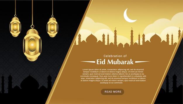 Sagoma di moschea d'oro banner ramadan