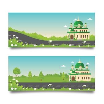 Banner di ramadan con moschea e paesaggio naturale