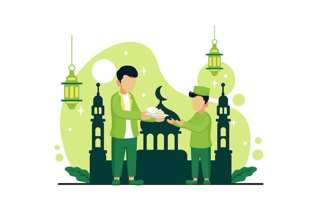 Celebrazione del ramadan con illustrazione stile piatto